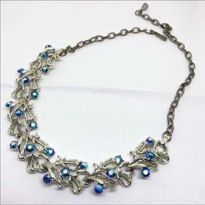 Vintage Blue Aurora Rhinestone Necklace
